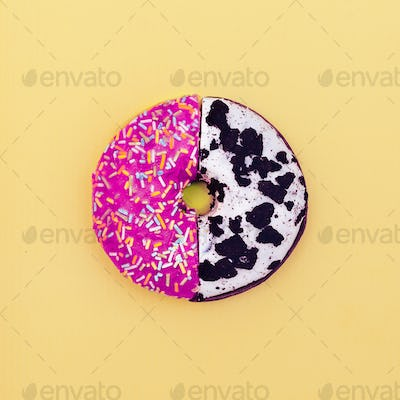 Creative donut two halves mix. Fashion creative minimal