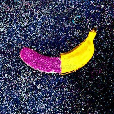 Minimal Glitter Banana surreal design Shining fruit