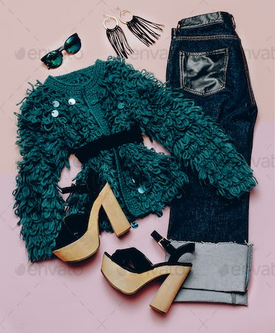 Fashionable outfit For every day. Stylish women's clothing. Deni