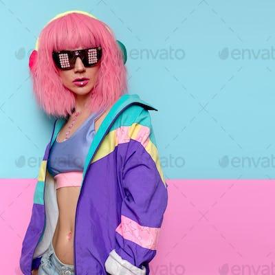 Minimal pop art style. Creative DJ girl. Music vibes