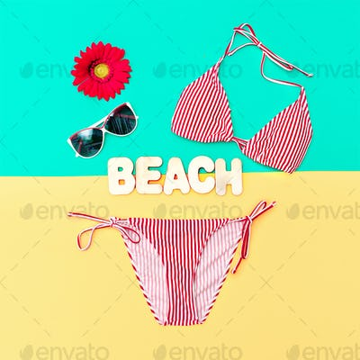 Fashionable Bikini and accessories. Beach fashion style