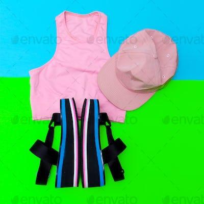 Stylish beach sportswear. Sandals platform. Cap. Summer outfit
