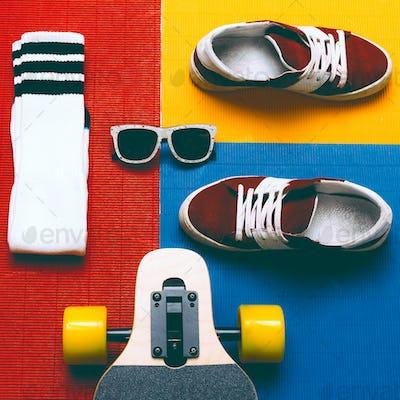 Set skateboarder. Sneakers, socks, skateboard. Eyeglasses. Urban