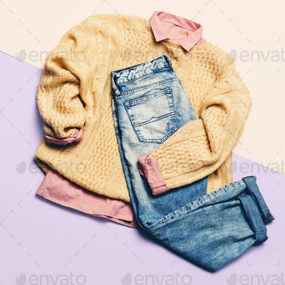 Ladies Fashion Clothes. Pink shirt, sweater and jeans. Hipster.