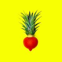 Mix Pineapple and tomato. Vegan Style minimal