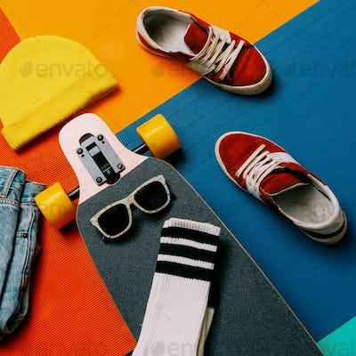 Set skateboarder. Sneakers, socks, skateboard. Urban fashion