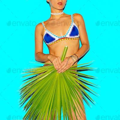 Girl in Bikini fashion and accessories. Tanned body. Beach style