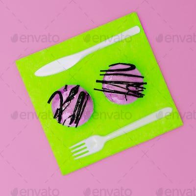 Bright fast food Two mini cake surreal minimal creative art