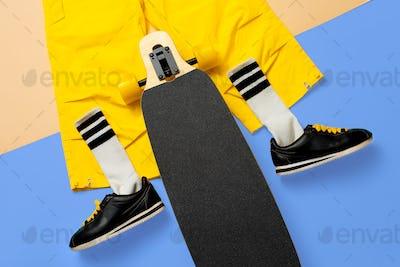 Sneakers and skateboard. Art minimal style urban design