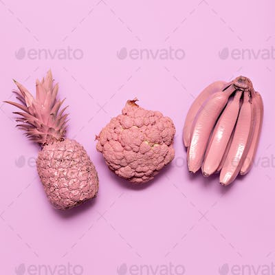 Mix fruits and vegetables in pink paint Surreal minimal art Stil