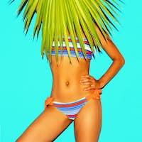 Beach fashion girl trend. Palm leaf. Striped swimsuit. Minimal s