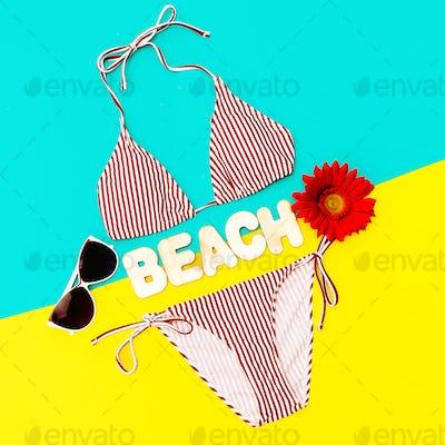 Stylish Bikini and accessories. Sunglasses. Trend Beach style
