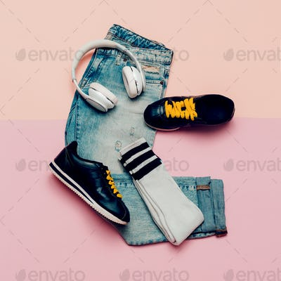 Jeans and sneakers. Knee socks. Urban Active outfit. Headphones.