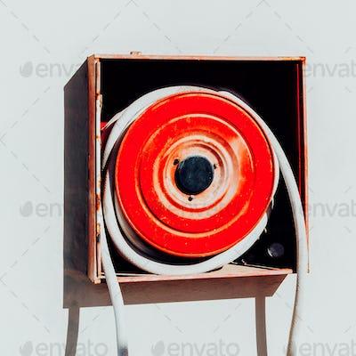 Fire hose. Modern minimal art object