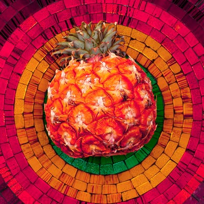 Pineapple on bright background. Mosaic. Minimal Tropical style