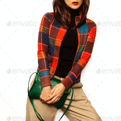 Brunette girl outfit Stylish Accessory Bag