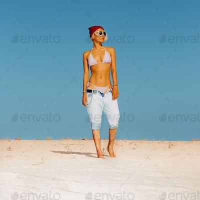 Girl. Relax. Travel. Beach style