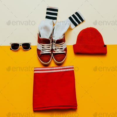 Urban Style Clothing. Skateboard fashion outfit. Sneakers, stock