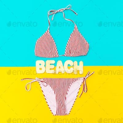 Stylish Bikini and accessories. Beach fashion style