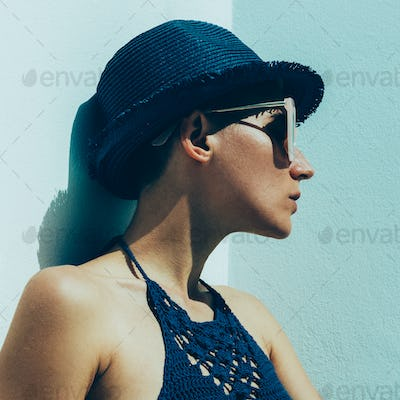 Relax hipster model outdoors stylish boho outfit. trend sunglass
