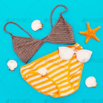 Swimsuit. Vacation. Summer. Minimal style beach