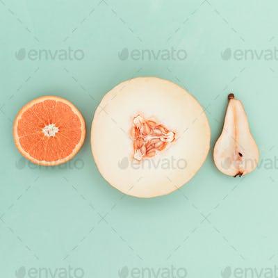Pear orange melon. Fresh tropical ideas. Minimal Creative art