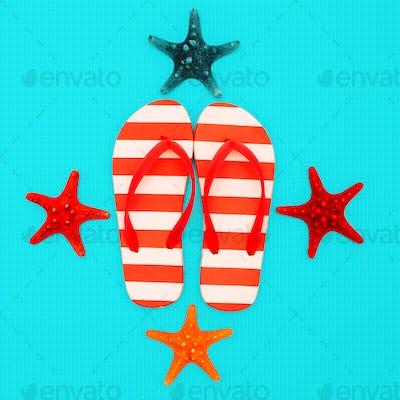 Flip-flops and starfish. Vacation. Summer. Ocean minimal beach s