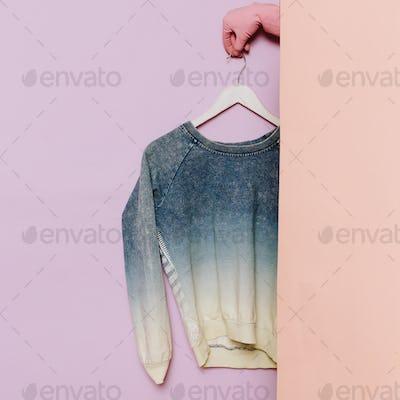 Stylish clothes. Fashionable Sweater. Denim cotton. wardrobe ide