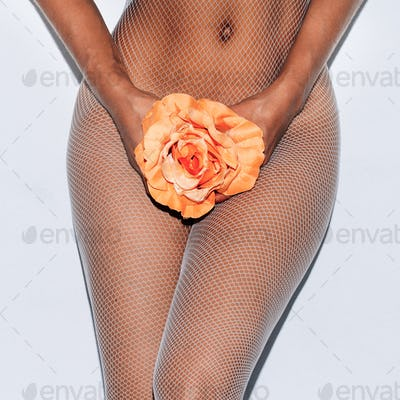 Body and flower. Tenderness swag minimal fashion