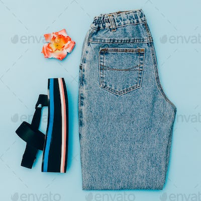 Blue Jeans vintage and platform shoes. Trend of the summer. Styl
