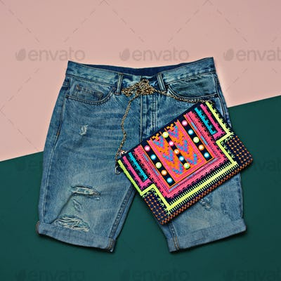 Stylish denim set. Denim shorts and clutch. Bright Summer Outfit