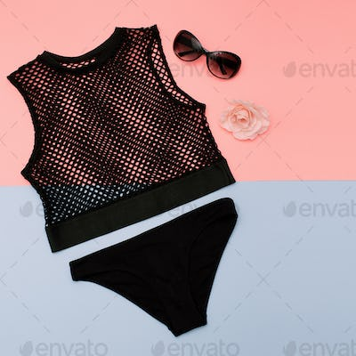 Stylish clothes. Top mesh and black panties. Summer outfit