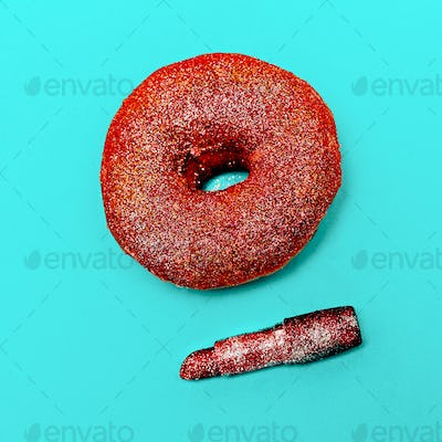 Donuts and Fashion Concept Lipstick Makeup Glam Glitter Minimal