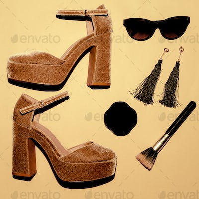 High Heel shoes. Trend. Style. Fashion concept. Be Lady. Set of
