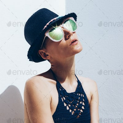 Cuba Relax time summer fashion. Hipster model outfit stylish sun