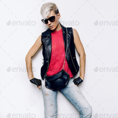 Girl Rock Style Urban fashion accessories. Denim Style Leather a