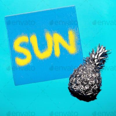 Pineapple and sun. Minimal art style