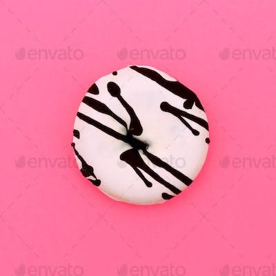 Donut Fast food. Milk chocolate coating. Fashion art