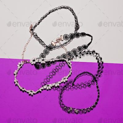 set of stylish jewelry. Choker. Top view