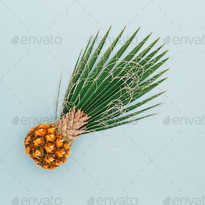 Mini Pineapple and Palm leaf. Vacation concept. Minimal art desi