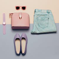 Ladies Fashion Accessories. Pink bag and sunglasses. Watches, je