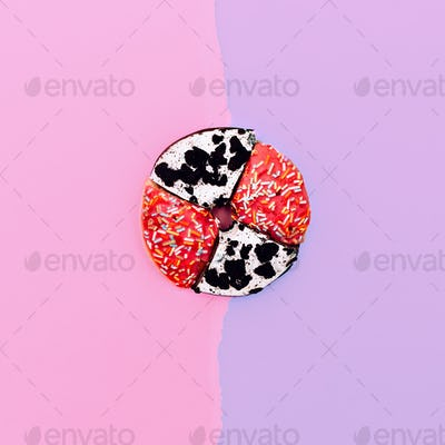Creative fast food. Donut two halves