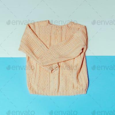 Knitted sweater. Minimal fashion style