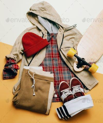 Urban Style Clothing. Skateboard fashion outfit.