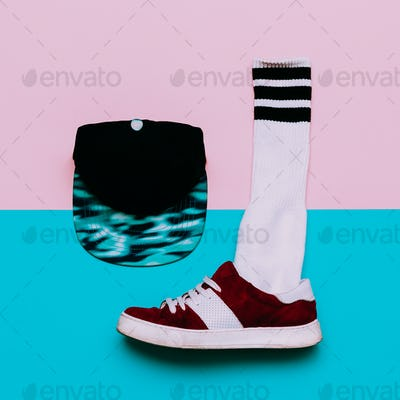 Flat lay fashion set: Fashion skateboard shoes, fashion stocking