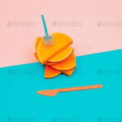 Pieces of Raw Pumpkin Vegan Minimal art