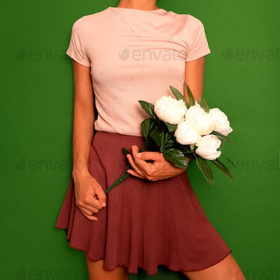 Cute Vintage Outfit Women's Skirt and T-shirt