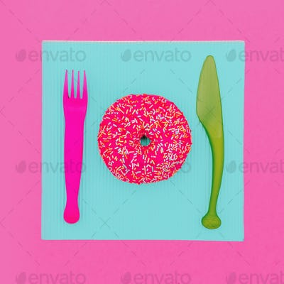 Donut Fast food. Cute fashion art Creative design