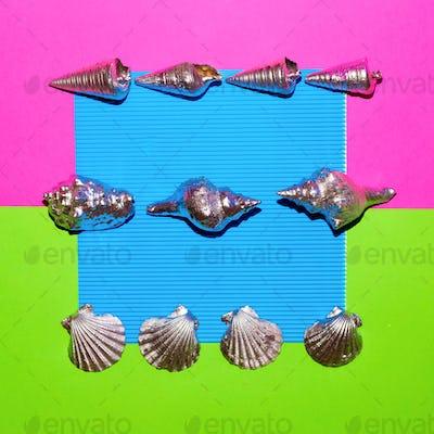 Set silver shells. Ocean vibes Minimal art