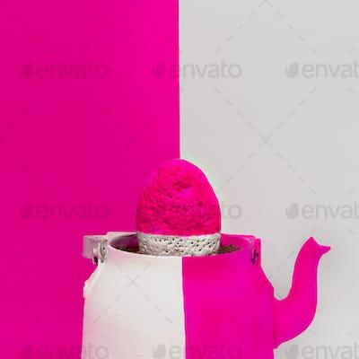 Creative Stone in a teapot. Minimal art design